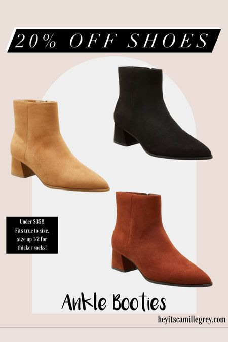 20% off Target Shoes for the Family Size up 1/2 size for roomier fit or or to wear with thicker socks.  Comes in light brown, cognac and black Love these ankle boots!    #LTKunder50 #LTKshoecrush #LTKsalealert