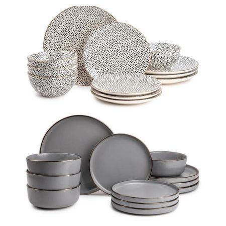 Restock!   I'm LOVING ❤️❤️ these dish sets!!  The gray color is $39 & the dot pattern are $49!  FREE SHIPPING too  Serves 4 settings👍Tag your friends!   Xo, Brooke  #LTKstyletip #LTKsalealert #LTKhome