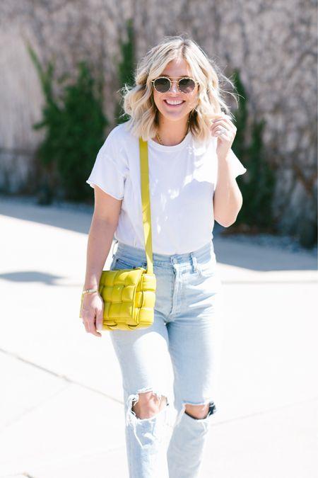 The perfect everyday look 🤍 Classic white tee, high-rise denim, bottega cassette bag, sunglasses   #LTKstyletip #LTKSeasonal #LTKitbag