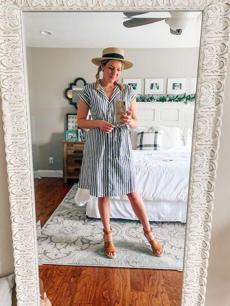 Easter dress / Easter outfit / tan wedges / straw hat / striped dress / spring dress   #LTKunder50 #LTKstyletip #LTKSeasonal