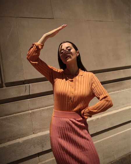 Summer knits Ribbed polo shirt in orange by Partow Ribbed skirt bi-tone orange and pink by Partow  http://liketk.it/3h9SM #liketkit @liketoknow.it #LTKstyletip