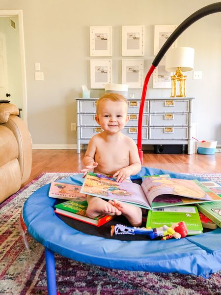 Lazy days at home mean lots of books to read and our indoor trampoline!   #LTKbaby #LTKkids #LTKfamily