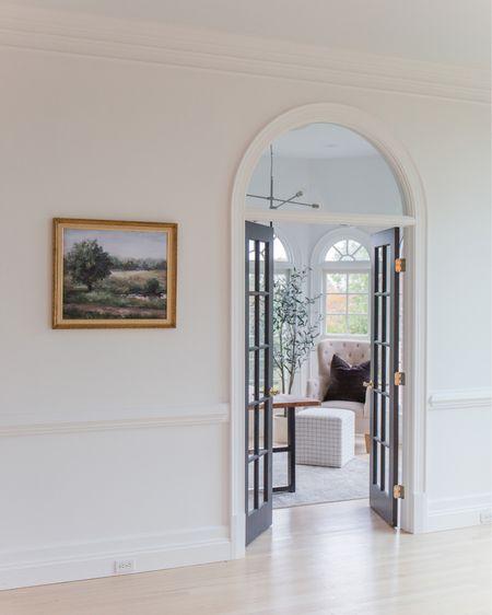 Home office, art, olive tree, plaid, ottoman, living room, arches, chair, furniture    http://liketk.it/3g3mu #liketkit @liketoknow.it #LTKstyletip #LTKsalealert #LTKhome @liketoknow.it.home