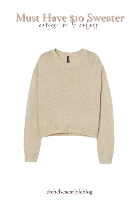 This $10 sweater is a staple in my closet year after year. It comes in 4 colors and goes with everything!  | sweater | sweater weather | hm | h&m | affordable | affordable fashion | affordable outfits | knitwear | jumpers | Zara | sweaters | neutral sweaters | neutral fashion | neutral bloggers |   #LTKstyletip #LTKunder50 #LTKworkwear