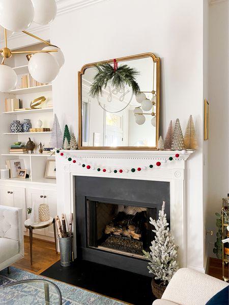 Holiday decor, mantle decor, anthro mirror, living room, Christmas decorations, target holiday   #LTKhome #LTKHoliday #LTKSeasonal