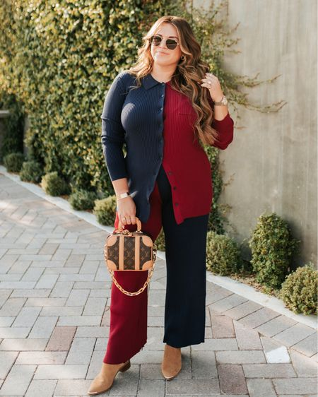 curvy fall style! wearing size xl in top and bottom of my two-tone set!   #LTKSeasonal #LTKcurves