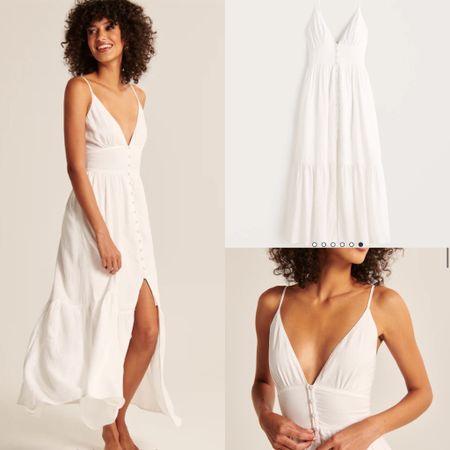 White dress. Perfect bridal shower dress.  #abercrombie   #LTKunder100 #LTKstyletip #LTKwedding