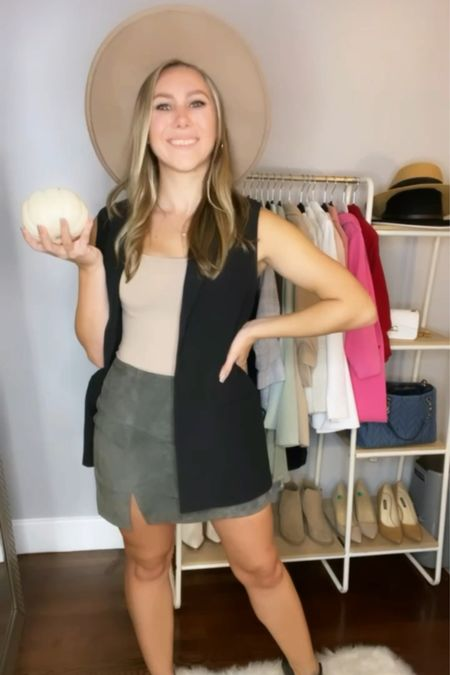 Check out all the ways I styled this sleeveless blazer! Here's how I would wear it to a fall date night!   #LTKSeasonal #LTKHoliday