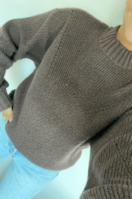 This mock neck sweater is the prettiest chocolate brown color. On the thicker side so can't wear quite yet but perfect for cooler weather   #LTKstyletip #LTKSeasonal #LTKworkwear