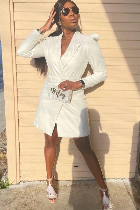 White blazer dress Wifey clutch