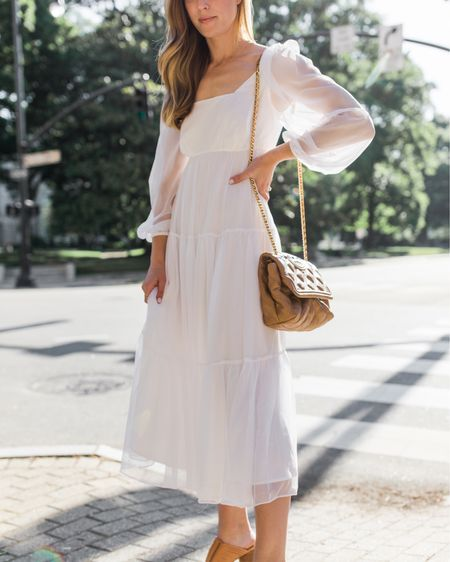 White dress, white dresses, white dress long sleeve, white dress midi, white dress nordstrom | This white dress is back in stock in a few sizes! Linked more white dresses with different lengths and price points as well. Size down in my exact dress.  #whitedress #whitedresses #whitedresslongsleeve #whitedressmidi #whitedressmaxi #whitedressnordstrom #whitedressoutfit #whitedresssummer #whitesummerdress #whitesummerdresses http://liketk.it/3hVOR #liketkit @liketoknow.it