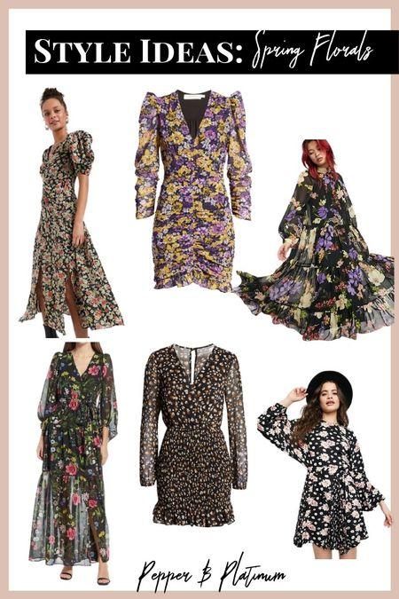 Spring floral dresses: floral, ruffles, maxi, bodycon, puff sleeve  #ltkitunder100 #ltkunder50 #ltkdresses
