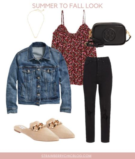 Summer to fall look- pair a Jean jacket with jeans and a fun top and mules   #LTKSeasonal #LTKstyletip #LTKshoecrush