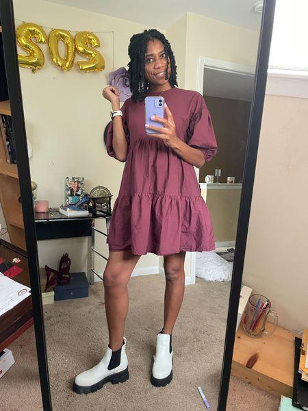 Fall style: Maroon puff sleeve tiered dress + White / black booties  #LTKshoecrush #LTKstyletip #LTKSeasonal