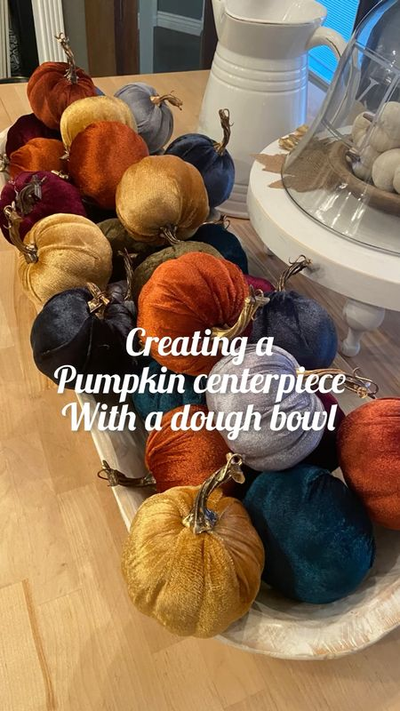 Creating a centerpiece  with a  wooden dough bowl and  36 velvet pumpkins✔️ Perfect for a kitchen island or dining table for fall or Thanksgiving! 🍂🍁 #farmhousestyle #boho #frenchcountry   #LTKhome #LTKHoliday #LTKSeasonal