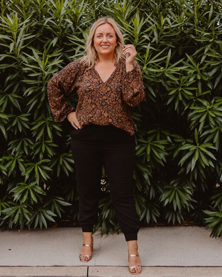 It's Friday and this look is calling your name!  Stunning outfit for fall date night. Also can be worn to work.  Workwear  Vneck top Joggers  Gold heels  Fall outfit    #LTKcurves #LTKstyletip #LTKunder100