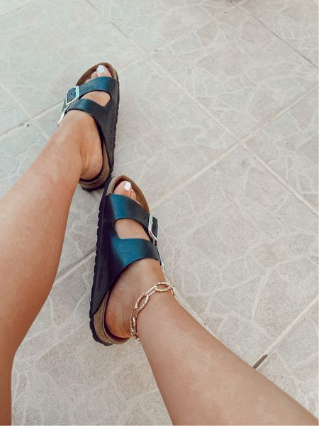 My favourite holiday sandals - the classic black Birkenstock teamed with chunky godl chain anklet   #LTKSeasonal #LTKeurope #LTKtravel