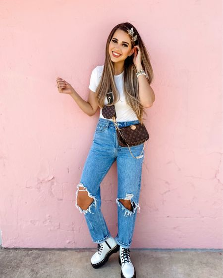 Jeans and bodysuit outfit Fall transition outfit Simple outfit Dr. Martin's  90s agolde jeans White bodysuit Butterfly clips   #LTKstyletip #LTKshoecrush #LTKunder50