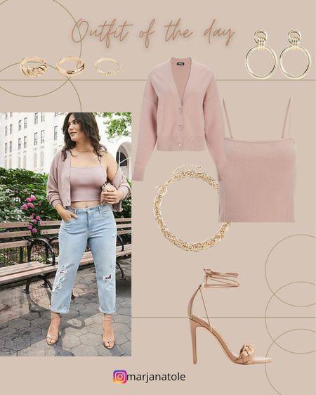 Ltk early gifting sale! Full outfit from Express! Jeans Cardigan Tank top Heels Necklace Rings Earrings    #LTKsalealert #LTKstyletip #LTKSale