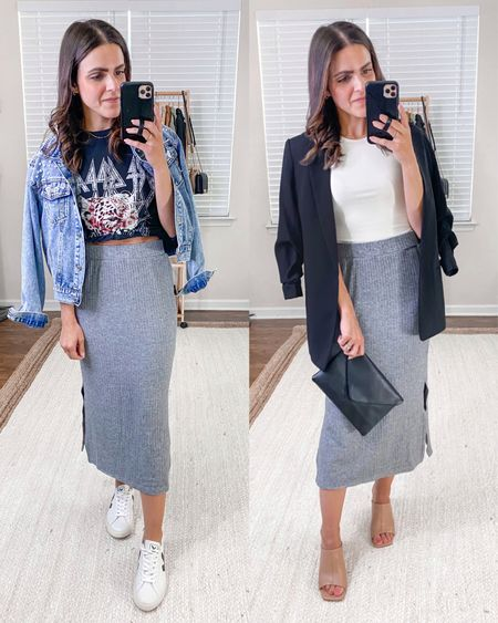 FALL WARDROBE ESSENTIALS: KNIT MIDI SKIRT // casual or dressy? I love both! Fits tts.     #LTKunder50 #LTKSeasonal #LTKstyletip