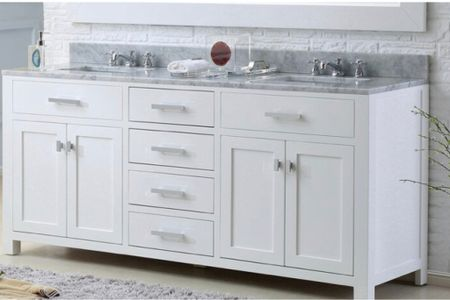 Memorial Day Sale, Save Big- this transitional white vanity  is both elegant and functional with a lot of storage.   #LTKhome #LTKsalealert