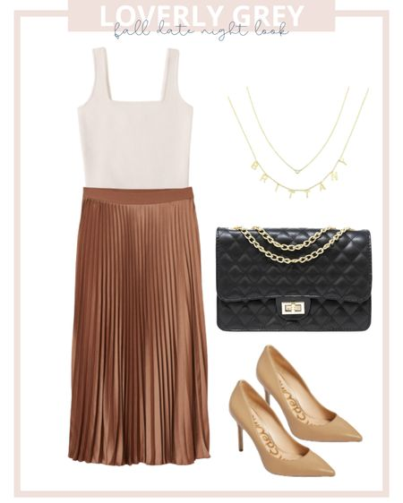 Loverly grey fall date night look. Pair a pleated skirt with a sweat tank and heels for an elevated fall look.   #LTKstyletip #LTKunder100