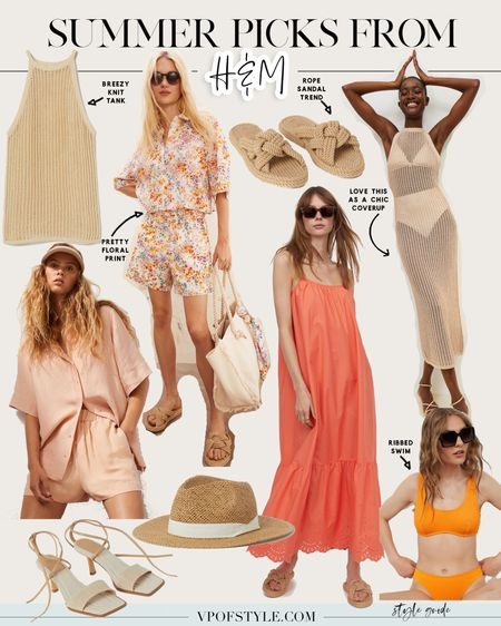 Summer fashion picks from H&M. From breezy coverups to knit tanks short coord sets rope sandal slides and ribbed swimsuits straw hats http://liketk.it/3iPZr #liketkit @liketoknow.it #LTKunder50 #LTKswim #LTKshoecrush