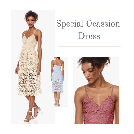Summer weddings and special occasions require the perfect wedding guest dress.  Dress up with this lace mid-length dress with straps. It's features a partially lined airy silhouette.  Sizes XS to XL. Runs a size small.  Several color options.  #kimbentley #wedding  #LTKunder100 #LTKwedding #LTKSeasonal