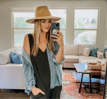 Transition To Fall Wardrobe: This is one of the easiest ways to transition your summer pieces to fall. Add a denim shirt, a wide brim hat and booties, and you are immediately speaking FALL. This summer jumpsuit takes on a BRAND NEW LOOK with a few key pieces. I am obsessed. Shop my #outfitdetails below!   #LTKSeasonal
