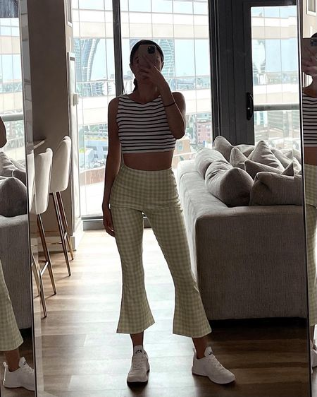http://liketk.it/3ghJ1 Asos's green and white checkered high waisted cropped flare pants, APL sneakers, casual look, summer ootd, cute on the go outfit, stretchy high rise pants, white gym shoes, Asos's US, Nordstrom, style, stylish, looks for less , affordable fashion, outfit inspo, moschino, summer crop top, stripes, striped shirt @liketoknow.it #liketkit #LTKunder50 #LTKstyletip #LTKfit