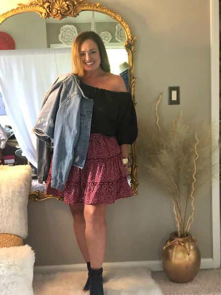 An easy Amazon skirt under $19.00! I styled it 3 ways.  First Look: casual with a denim jacket and open toed booties.  2nd Look: Edgy with oversized blazer ( trending) and combat boots  3rd Look: western style with cowboy boots.  Which is your favorite?   #LTKstyletip #LTKSeasonal #LTKcurves