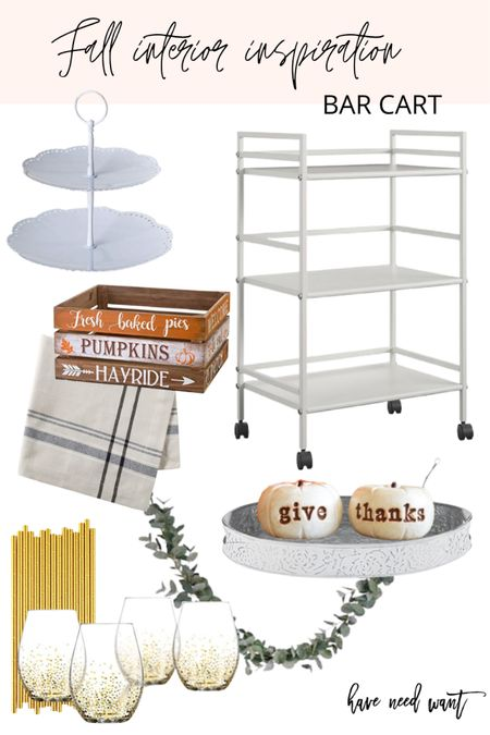 Decorate your bar cart with fall accents this season Like seasonal pumpkins, faux eucalyptus garland, seasonal wooden crate and fun glasses and straws.   #LTKSeasonal #LTKunder50 #LTKhome