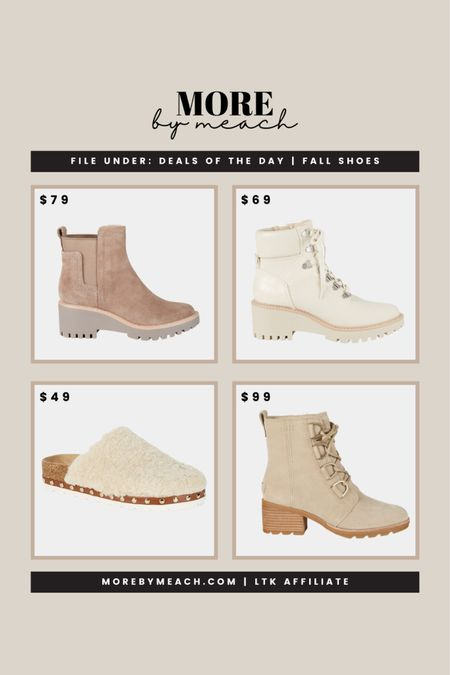 Some cute fall shoes 2021 - all under $100!! Click to shop. 🤍 | capsule wardrobe, sherpa clogs, neutral boots, neutral booties, white boots, combat boots, tan boots, Chelsea boots, Dolce Vita, Steven, Sorel  #LTKshoecrush #LTKsalealert #LTKunder100