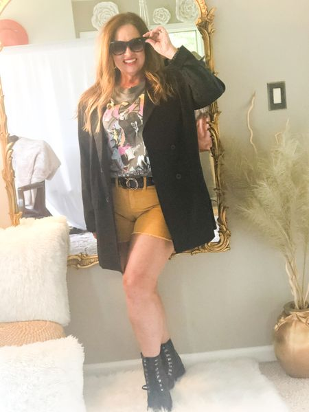 Taking my oversized pin stripe blazer to the streets ( style ) favorite band tee and corduroy mustard shorts and combat boots!  I love the versatility of this blazer!  #LTKstyletip #LTKSeasonal #LTKunder50