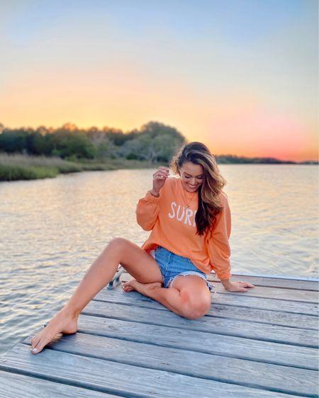 Surfs up... gah that felt cheesy but this oversized sweatshirt is so dang soft and I love the vibrant sunset orange color for summer 💕 http://liketk.it/3hib6 @liketoknow.it #liketkit #LTKstyletip #LTKunder50 #LTKunder100 #target