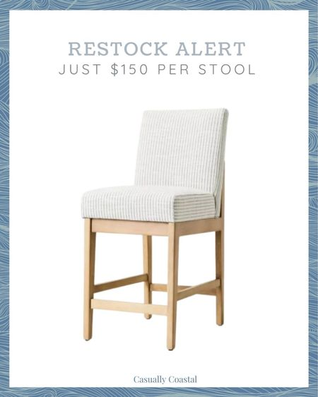 These upholstered natural wood counter stools sold out immediately when they were first released but they are now back in stock! A great deal at just $150 per stool! - home decor, decor under 50, home decor under $50, coastal decor, beach house decor, beach decor, beach style, coastal home, coastal home decor, coastal decorating, coastal interiors, coastal house decor, beach style, blue and white home, neutral home decor, neutral home, natural home decor,  counter stools with back, grey counter stools, affordable counter stools, coastal kitchen, kitchen stools, wood counter stools, wood bar stools, fabric stools, Target counter stools, kitchen counter stools, striped counter stools, light colored counter stools  #LTKfamily #LTKhome