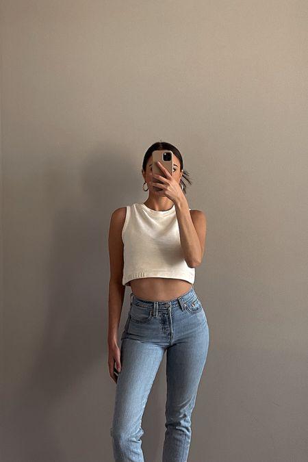 OOTD   AllSaints crop top   Jones Hoops by 8 Other Reasons   Levi's wedgie fit jeans   spring and summer outfit inspo   summer fashion, high neck sporty crewneck crop top, sweatshirt tank, loungewear, all saints http://liketk.it/3fzYa #liketkit  @liketoknow.it #LTKunder50 #LTKunder100 #LTKstyletip