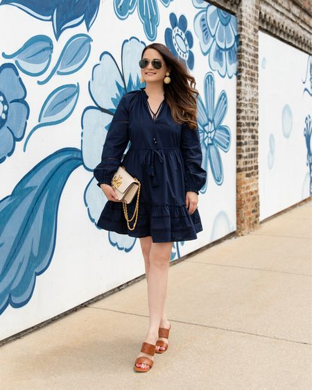 A Veronica Beard navy dress and Vince Camuto sandals from the Nordstrom Anniversary Sale with a Tory Burch Chain bag #NSale  #LTKitbag #LTKunder100 #LTKsalealert