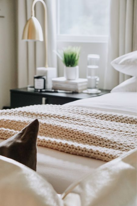 Neutral bedding that's cozy and easy to maintain. White duvet cover, cozy cream blanket and soft white sheets!  #LTKhome