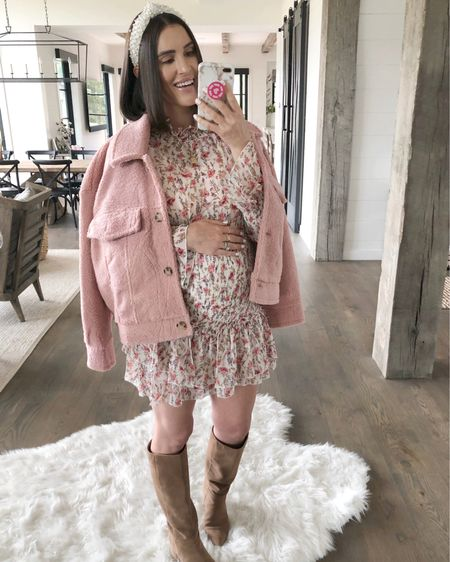 F A S H I O N // Dressing it up for fall in this pretty pink situation!!💕 Loving my new teddy jacket ($64) paired with a floral smock dress ($57) and nude boots!! Great transition look for summer to fall! Shop it here on the @liketoknow.it app or head over to my Instagram for a closer look on my stories!🙋🏻♀️ Jacket Size: 8 Dress: 8 Boots: TTS   #fallfashion #teddy #jacket #falldress #ltkfall #boots #booties #liketkit #LTKunder100 #LTKstyletip #LTKshoecrush // http://liketk.it/2EU8X