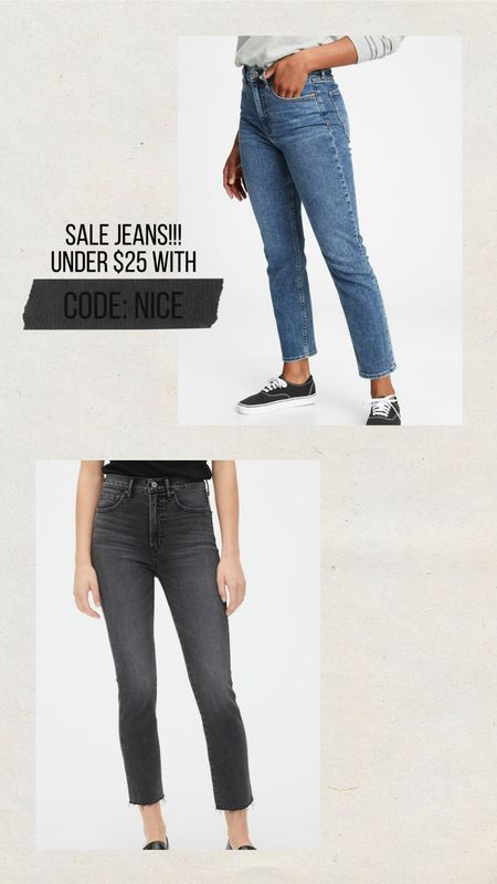 """My current Jeans obsession! Fit like a glove, high rise but not so high that it causes lower tummy mom pooch to look pronounced, nice stretch, fit TTS, if unsure size UP not down. I size up for a slightly looser fit in the calves because I have muscular legs. Style is """"Cigarette"""" from GAP.   #LTKcurves #LTKunder50 #LTKsalealert"""