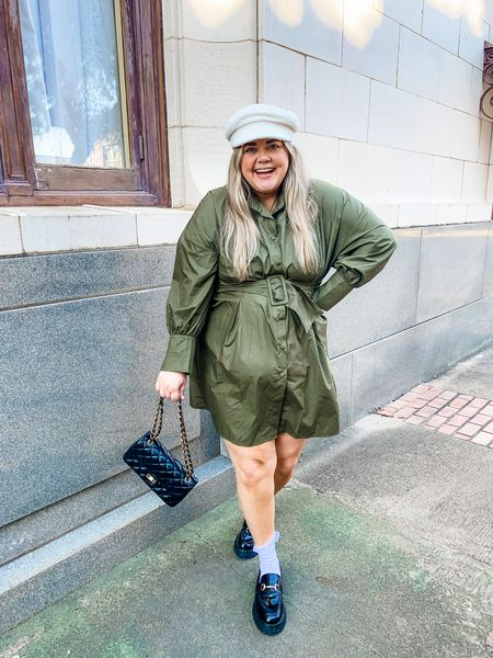 Misguided dress on sale. Wearing 20, but it's big. Chunky loafers and sherpa hat    #LTKstyletip #LTKunder100 #LTKcurves