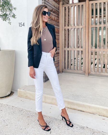 White jeans!  These aren't skin tight but they are fitted.  Business casual when styled right!   True to size (wearing 2 long).     #LTKworkwear #LTKshoecrush #LTKsalealert