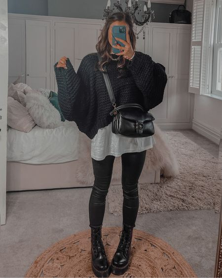 Autumn fall outfit ideas Missguided oversized hand knitted jumper in black Black coated jeans Coach tabby bag  Dr marten platform boots   #LTKshoecrush #LTKeurope #LTKstyletip