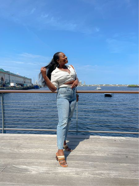 White Cut out bodysuit paired with straight leg jeans from INC and Macy's. This polo fit bodysuit is from zara. Linked alternatives   #LTKshoecrush #LTKcurves