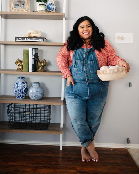 ✨THE SOFTEST DENIM✨#ad @anthropologie has recently launched an entire line by Pilco. I had a few pieces already, but when I saw that they also had overalls, I had to try them! What I love about these overalls is that they are so soft and have a ton of stretch to them! I feel like I've had these overalls forever! The entire line is size inclusive as well!   My floral button down top is also by Pilcro. I love how lightweight it is. It's perfect for spring here in Texas! I really love that my entire look can be worn at home or out and about while running errands.   I've linked a ton of my Pilcro favorites within my @liketoknow.it so screenshot this post to shop! #myanthropologie   #StayHomeWithLTK #LTKsalealert #LTKcurves