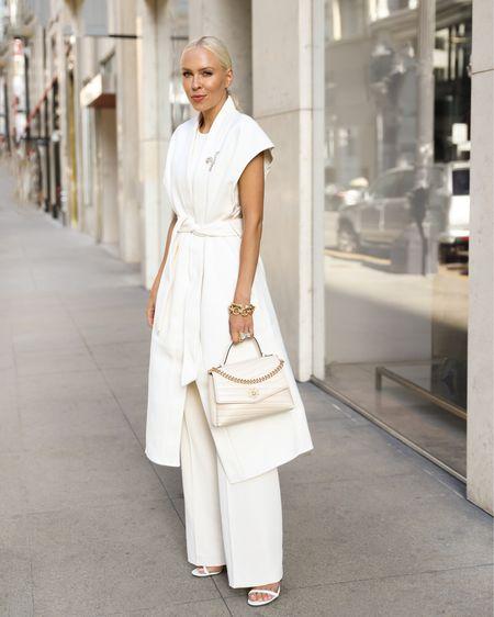 H&M neutral fall favorites. Monochromatic style. Sleeveless white coat. Ivory bag. Wide leg trousers.   #LTKunder50 #LTKSeasonal #LTKstyletip