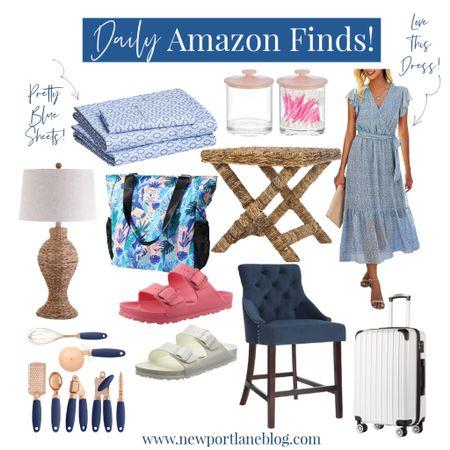 Shop my Amazon daily finds!    http://liketk.it/3jHxh #liketkit @liketoknow.it @liketoknow.it.home #LTKhome #LTKsalealert #LTKunder100 suitcase, summer dress, woven lamp, blue sheets, blue counter stool, Birkenstock Arizona, kitchenware, sawgrass x bench, storage, home organization