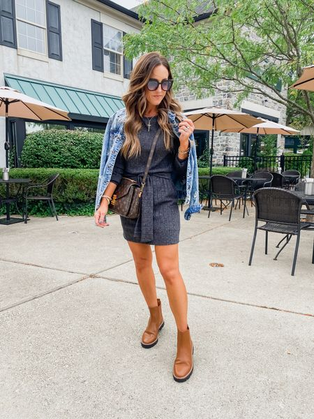 Love a simple Fall dress. The tie waist detail makes it special. Linking up this and a few new finds.  Size up 1 or 2 sizes in this dress. I have size small.  Boots TTS and part of LTK sale!!   #LTKshoecrush #LTKstyletip #LTKSeasonal