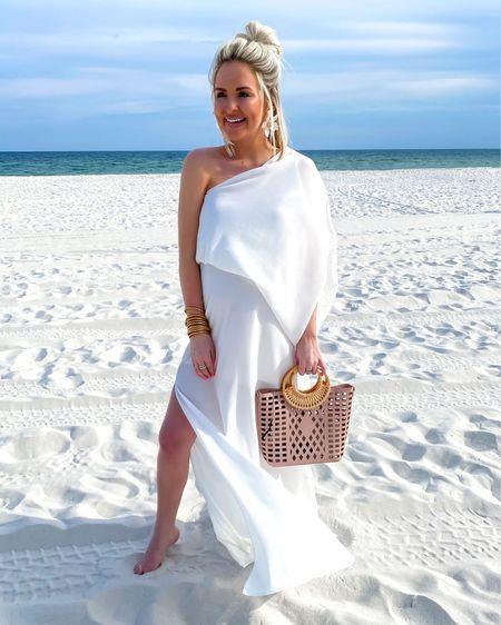 White one shoulder maxi dress also available in a mini dress version! Perfect for brides.. I'm wearing the SM! Bridal shower, rehearsal dinner dress, white dress, wedding dress  http://liketk.it/3idqA @liketoknow.it #liketkit #LTKwedding #LTKunder50
